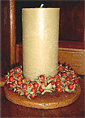 CandleSmith Bayberry Pillar with Berry Ring and Antique Holder
