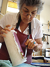 Susan Bradley, CandleSmith, creating a custom Wedding Candle